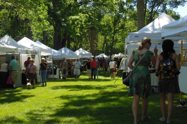 Artist booths at Art in the Park.