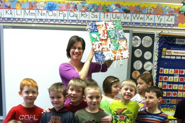 Picture Parade volunteer, Stela, with her students at Lanesboro Elementary School.