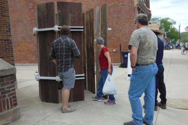 2014 artist resident Adam Manley welcomes passersby into his SKY SILO