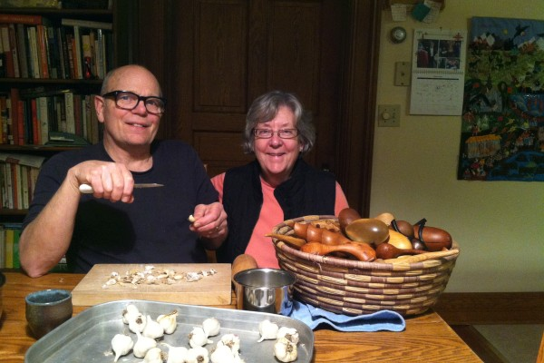 Frank and Peggy relaxing in the kitchen of their Lanesboro home.