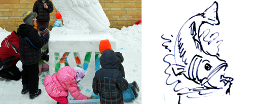 Photo on the left is a previous snow sculpture created by Michael Martino with a similar engagement activity. The photo on the right is a sketch Martino made of the sculpture he will create in Sylvan Park.